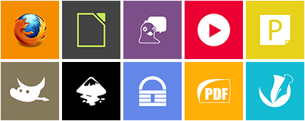 Icons for Firefox, LibreOffice, Pidgin, CoolPlayer+, GIMP, Inkscape, KeePass, Sumatra PDF, Scribus, ...